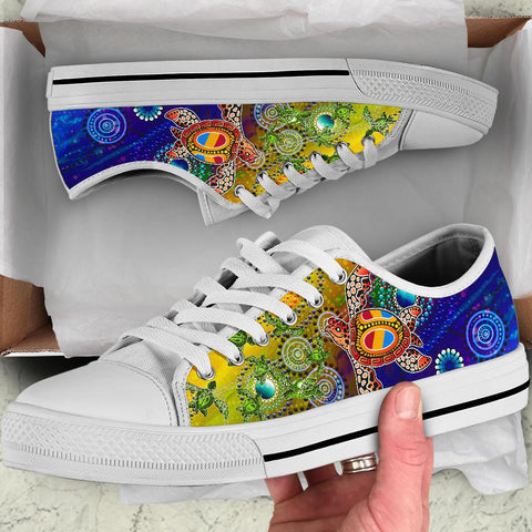 1stAustralia Aboriginal Canvas Shoe, Turtle Art Ocean Galaxy Dot Painting