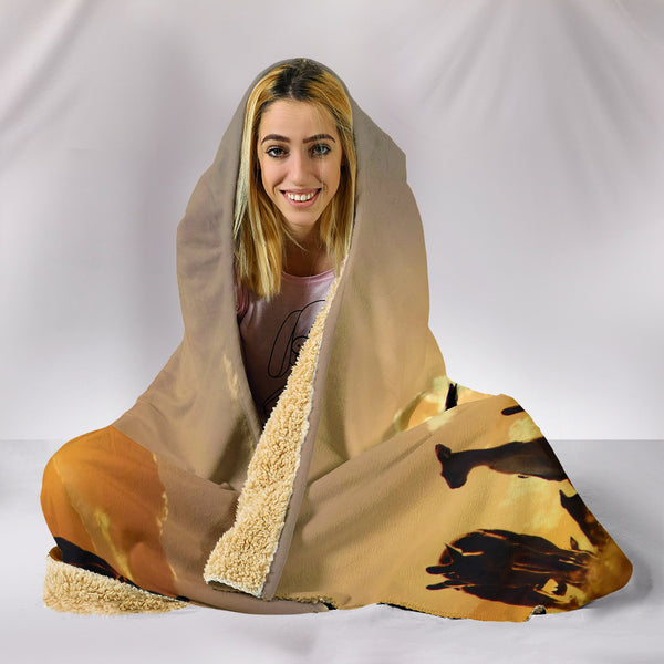 1stAustralia Hooded Blanket - Kangaroo Hooded Family Sunset Blanket Ver02 - Nn0