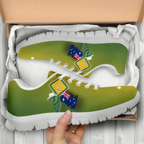 1stAustralia Sneakers - Aus Flag and Coat Of Arms Shoes Kangaroo and Koala Sign