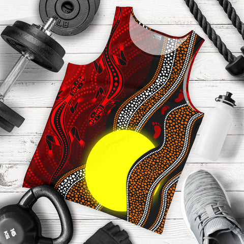 1stAustralia Aboriginal Men Tank Top - Aboriginal Flag Lizard Dot Painting Style