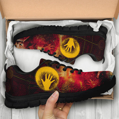 1stAustralia Aboriginal Sneakers - Indigenous Flag Hand Art