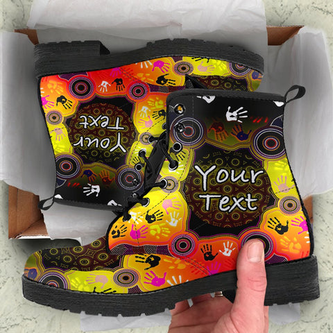 [Custom] 1stAustralia Aboriginal Leather Boots, Indigenous Circle Dot Painting Hand Art