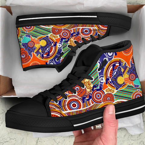 1stAustralia Aboriginal High Top Shoes - Australian Map Dot Painting