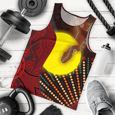 1stAustralia Aboriginal  Men's Tank Top - Indigenous Snake Sun Dot Painting