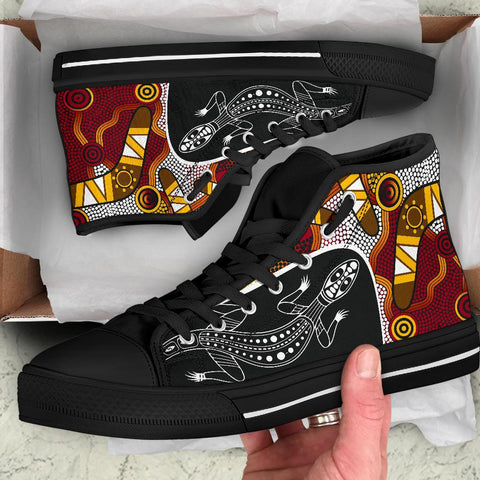 1stAustralia High Top Shoes - Aboriginal Dot Painting Lizard Shoes