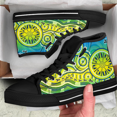 1stAustralia Aboriginal High Top Shoes - Dot Painting Indigenous Circle Patterns