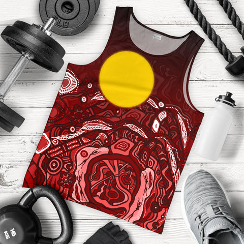 1stAustralia Aboriginal Men's Tank Top - Red Landscape