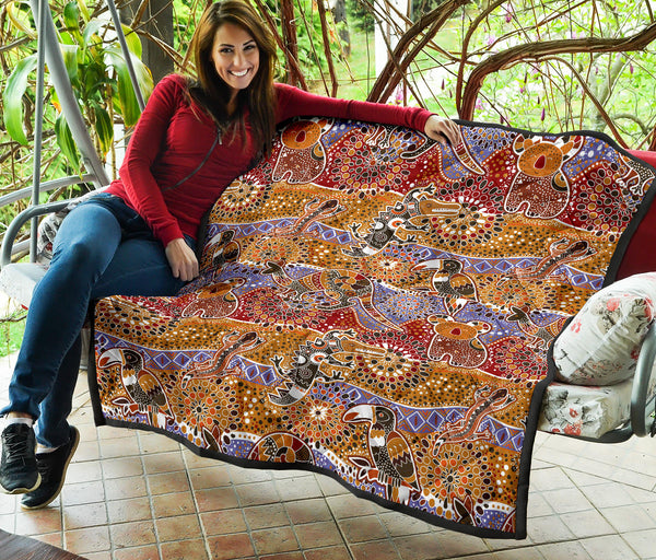 1stAustralia Premium Quilts - Aboriginal Patterns Coverlets Australian Animals - K5