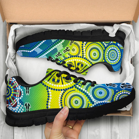 1stAustralia Aboriginal Sneakers - Dot Painting Indigenous Circle Patterns