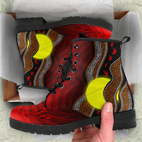 1stAustralia Aboriginal Leather Boots - Aboriginal Flag Lizard Dot Painting Style