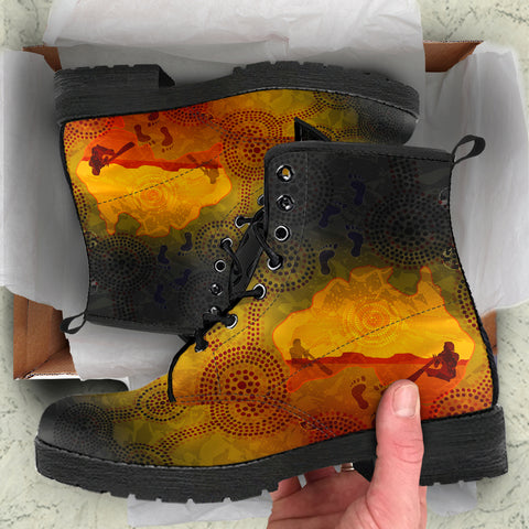 1stAustralia Aboriginal Leather Boots, Australian Map with  Indigenous Color