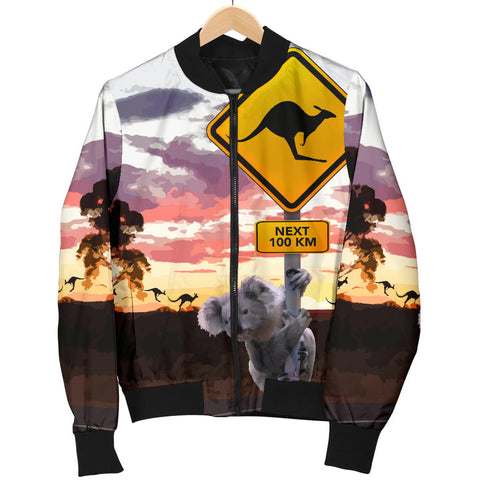 Australia Womens Bomber Jacket Koala With Kangaroo Sign TH1