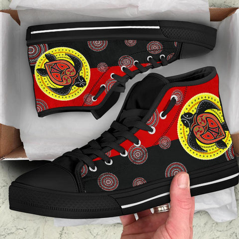 1stAustralia Canvas Shoe - Aboriginal Dot Painting Shoe Turtle - High Top