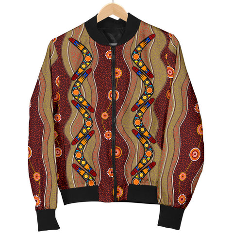 1stAustralia Bomber Jacket - Aboriginal Jacket Boomerang Patterns