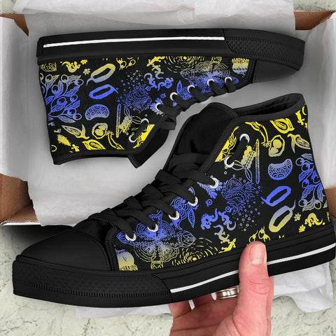 1stAustralia High Top Shoes - Australian Aboriginal Golden Wattle - Unisex