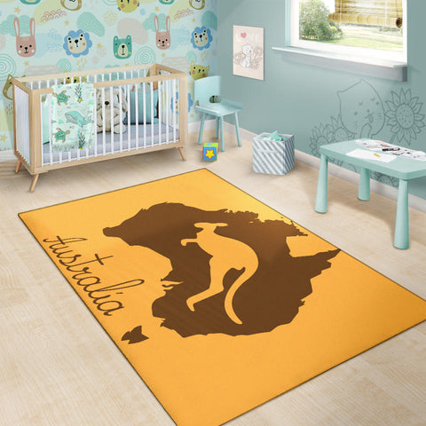 Australia Area Rug Kangaroo And Map TH1