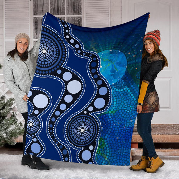 1stAustralia Aboriginal Premium Blanket - Australia Indigenous Flag Circle Dot Painting Art (Blue)