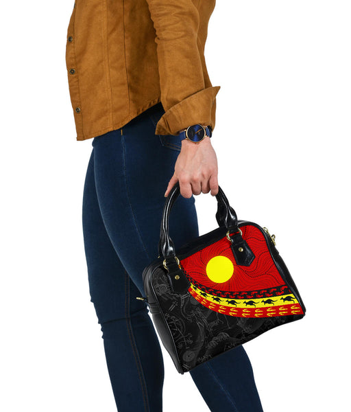 1stAustralia Aboriginal Shoulder Handbag, Indigenous Flag Circle Dot Painting