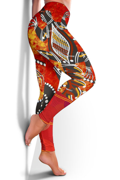 1stAustralia Leggings - Aboriginal Crocodile And Kangaroo