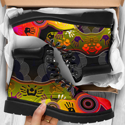 1stAustralia Aboriginal All-Season Boots, Indigenous Circle Dot Painting Hand Art
