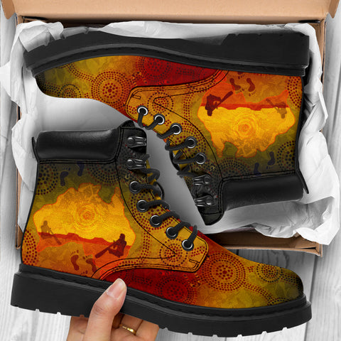 1stAustralia Aboriginal All-Season Boots, Australian Map with  Indigenous Color