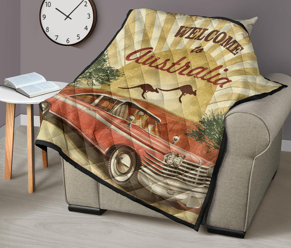 1stAustralia Premium Quilts - Retro Car Quilts Vintage Kangaroo - Th1