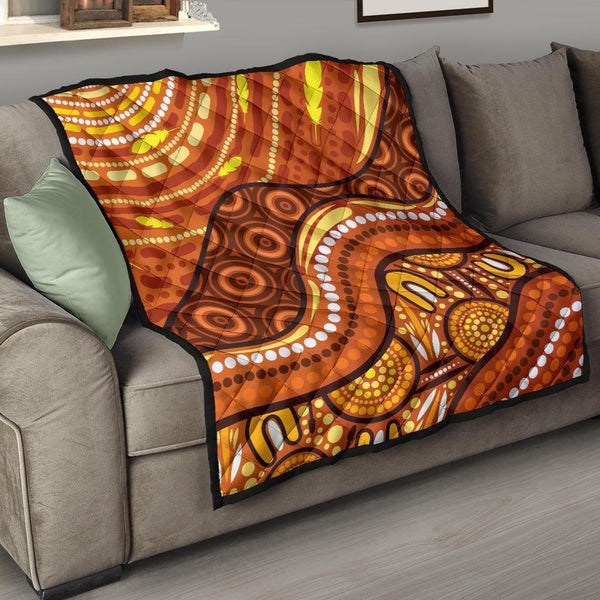1stAustralia Aboriginal Premium Quilt - Landscape and The Sun Dot Painting Art