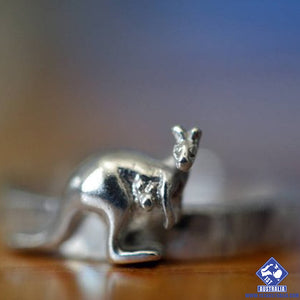 Silver Kangaroo Ring Custom Engraved Band Australia Animal Jewelry