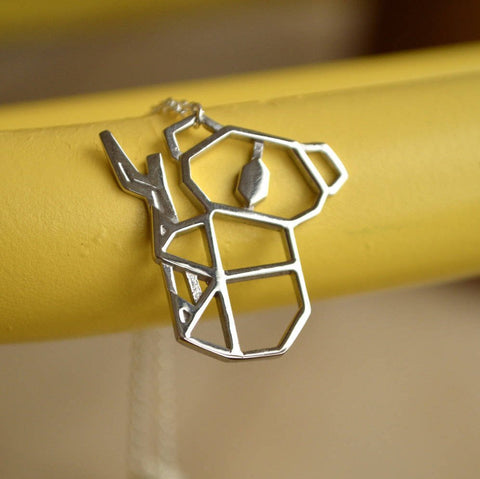 Gold And Silver Personalized Koala Necklace Origami