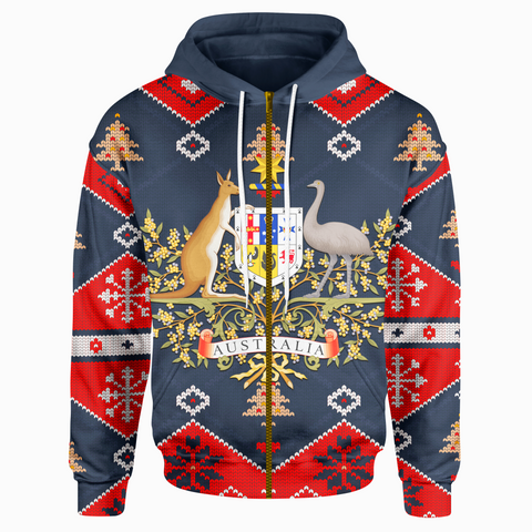 1stAustralia Christmas Zip Up Hoodie - Australian Coat Of Arms Hoodie Santa Claus - Unisex - Bn18