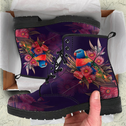 Image of Australia Leather Boots - Australia Kookaburra With Warahta Flower