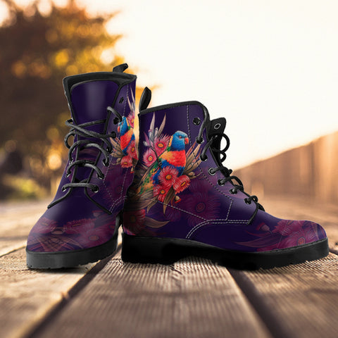 Australia Leather Boots - Australia Kookaburra With Warahta Flower