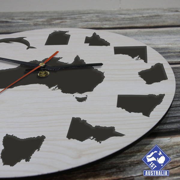 Australia Map And Symbols Wooden Wall Clock
