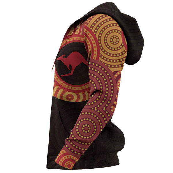 1stAustralia Aboriginal Zip Up Hoodie - Kangaroo Patterns Australian Dot Painting Tattoo - Th57
