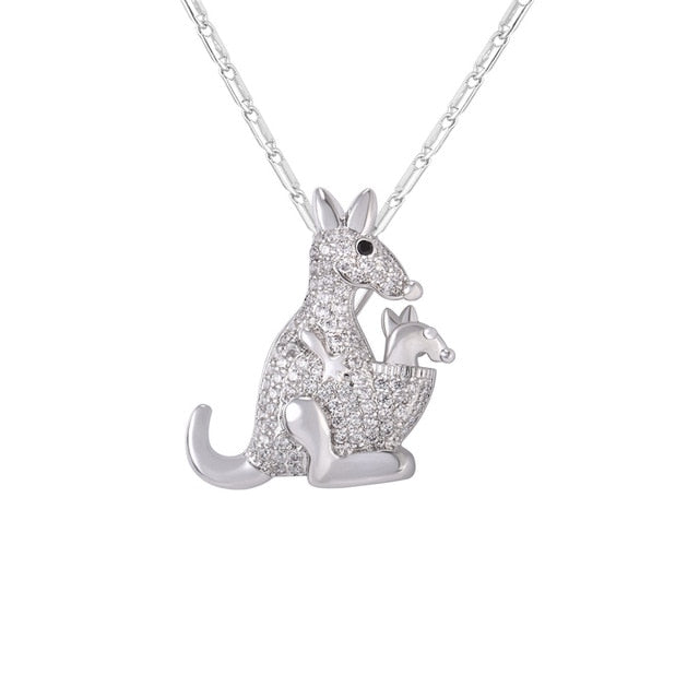 Cute Kangaroo Necklace Silver
