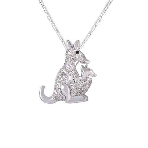 Image of Cute Kangaroo Necklace Silver