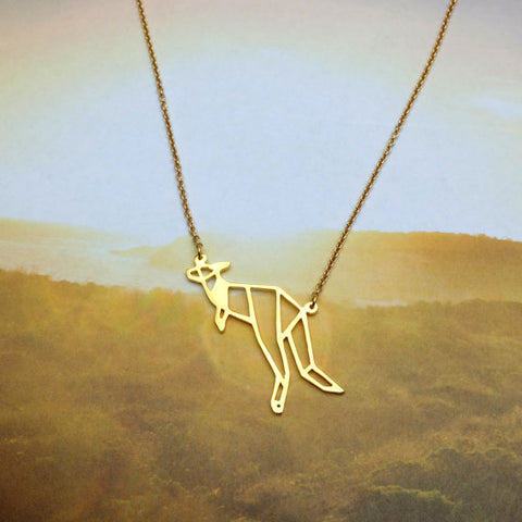 Gold And Silver Personalized Kangaroo Necklace Origami