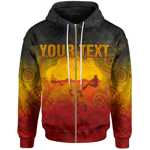 [Custom] 1stAustralia Aboriginal Zip-Up Hoodie, Australian Map with  Indigenous Color