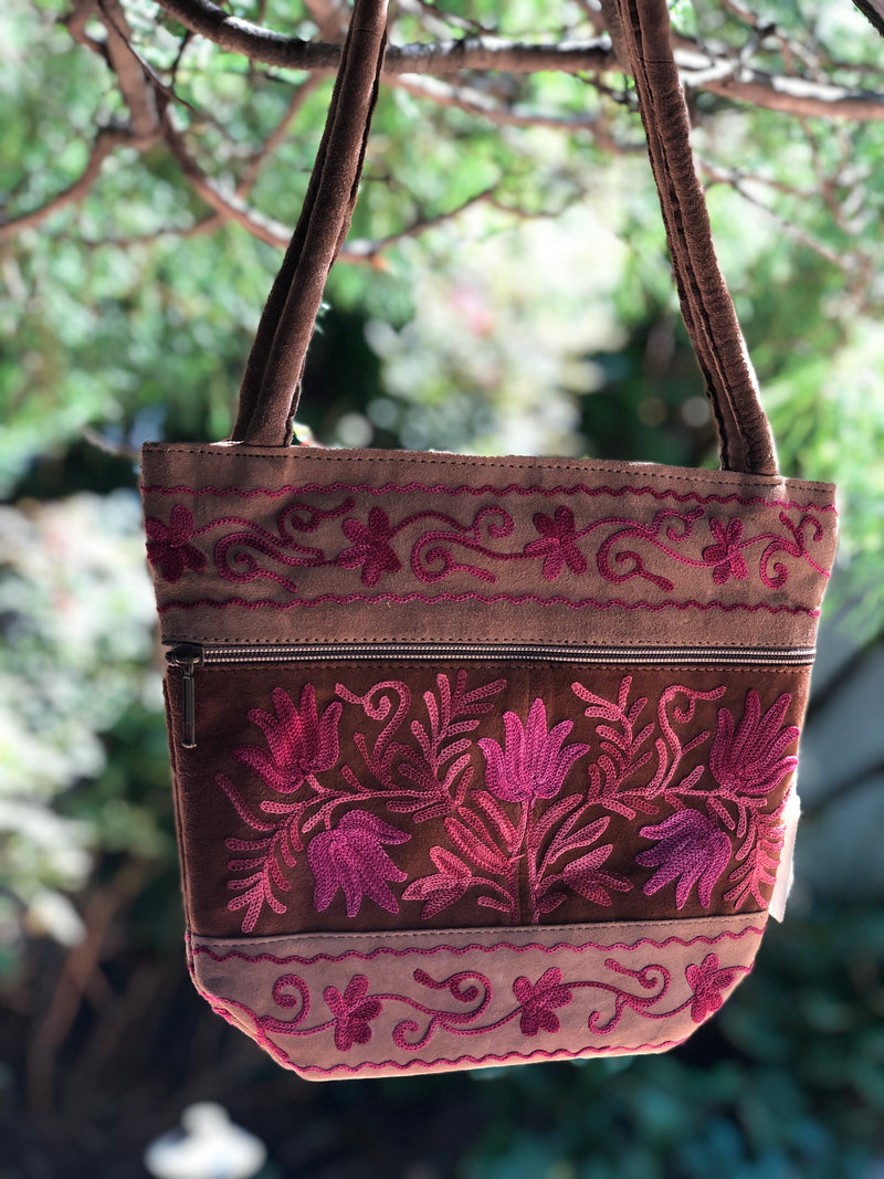 Suede Shoulder Embroidered Handbag Zani S (H12)
