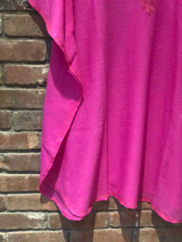 KS.43 FUSCHIA PINK  / SHORT CRUSHED COTTON KAFTAN FREE SIZE