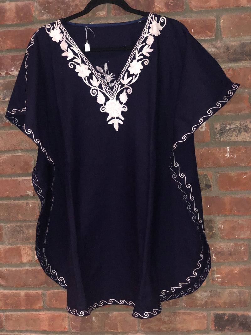 KA.03 NAVY BLUE & WHITE  Warm Thick Cashmilon Acrylic Embroidered Short Kaftan One Size