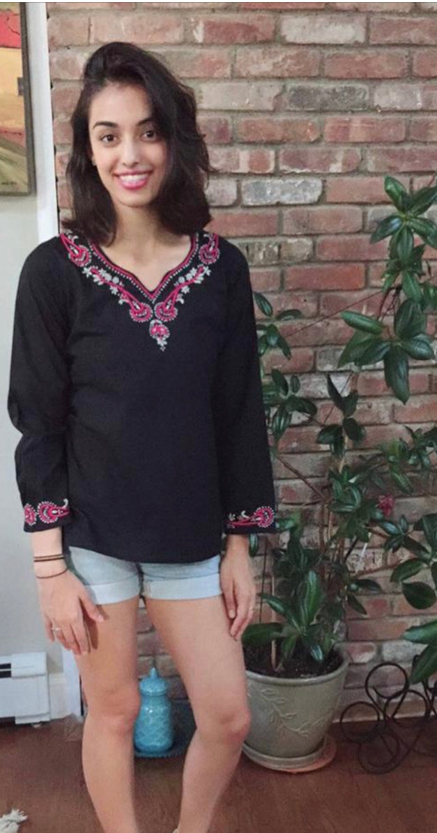 100% Cotton Black Top~Tunic with Paisley Floral Hand Embroidery (T37)
