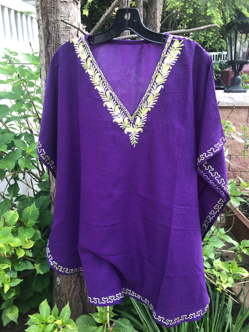 KS.41 DEEP PURPLE / SHORT CRUSHED COTTON KAFTAN FREE SIZE ET