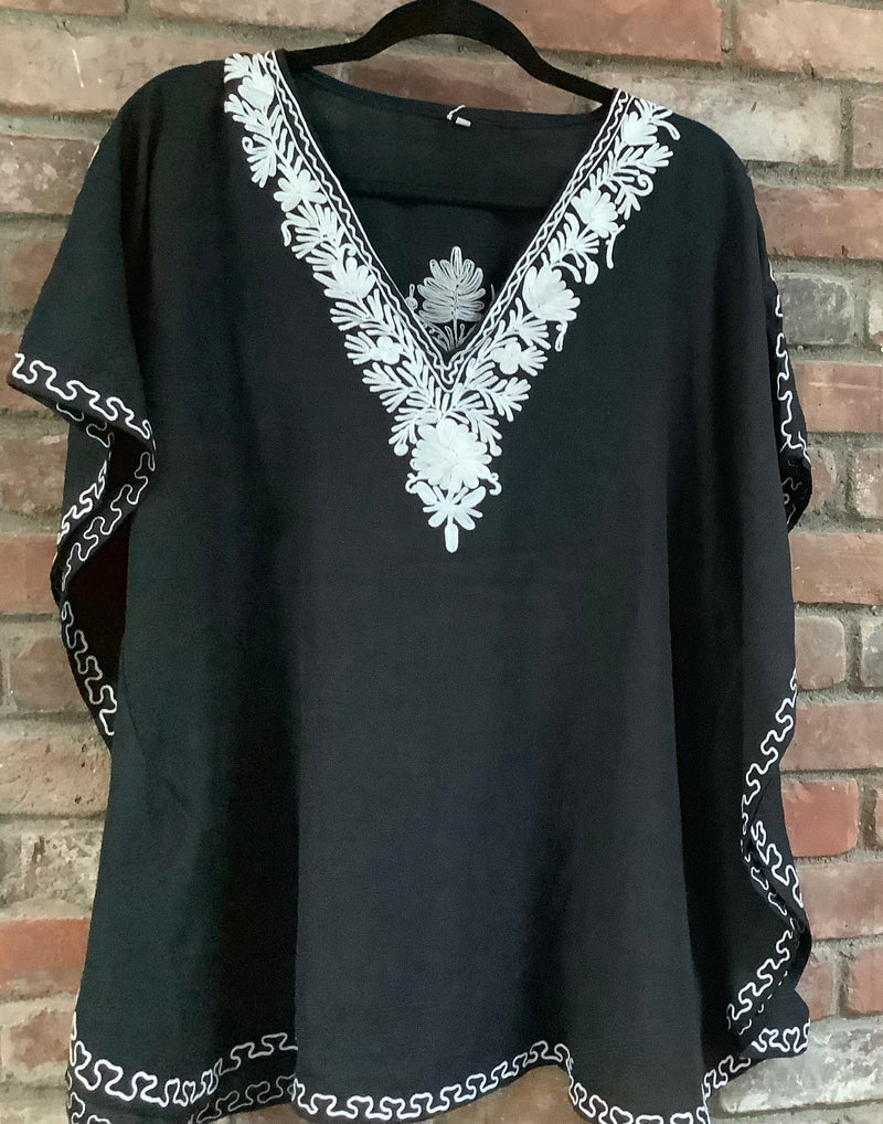 KS.02 Black / White Crushed Cotton Embroidered Kaftan Top / Cover up; Band size (40)
