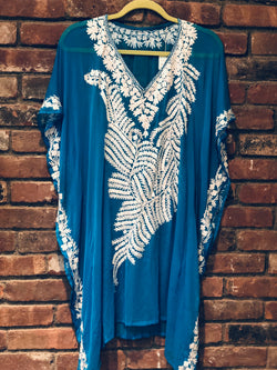 KC.03 Turquoise White Fern embroidery sheer Kaftan Cover up Midi