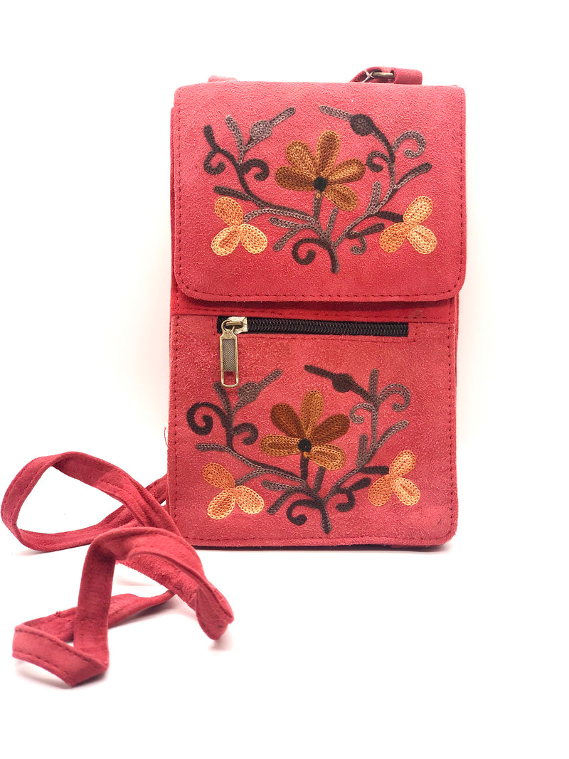 PASSPORT/ MOBILE Embroidered Crossbody Wallet Bag 8 x 5 (HP)