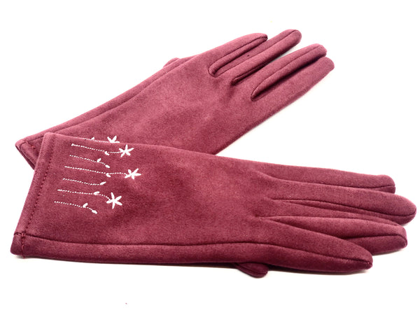 Women's Embroidered Touch Screen Gloves for Fall / Winter