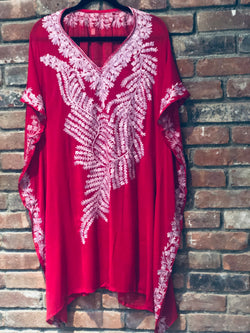 KC.07 Red Pink embroidery sheer Kaftan / Cover up Midi