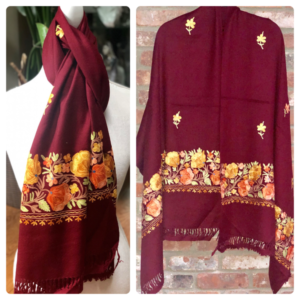 Burgundy Floral Embroidered Medium Weight Warm Stole~Wrap~Shawl
