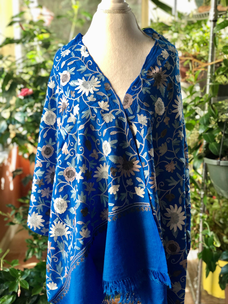 100% Pure Wool Soft Warm Embroidered Stole~Wrap~Shawl (ARI.J)